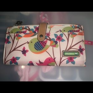 Lily bloom bird and flowers wallet for travel